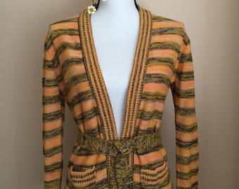 70's vintage/space-dyed/sherbet cardigan