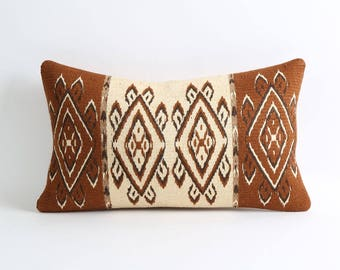 12x20 kilim pillows cover Brown and cream