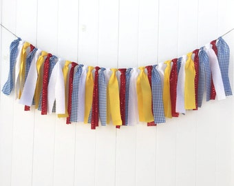 Wizard of Oz Fabric Garland, Banner, Bunting, Backdrop, Streamer, Smash cake, Photo Prop. Yellow Brick Road Banner, Dorothy Garland