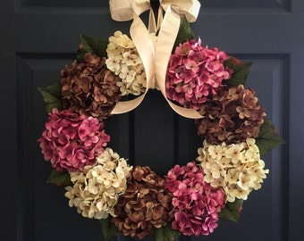 WREATHS | Hydrangea Wreaths | Spring Wreath | Front Door Wreaths | Summer Wreath | Outdoor Wreaths | Door Wreath | Housewarming Gift