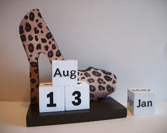 Leopard Shoe Calendar Perpetual Wood Block Leopard High Heel