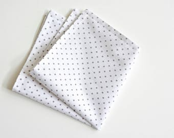 Pocket square,grey polka dot pocket square,floral pocket square, grey and white handkerchief,mens pocket square