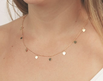 Gold necklace tiny gold heart necklace layering necklace love necklace minimalist delicate gold filled jewelry.