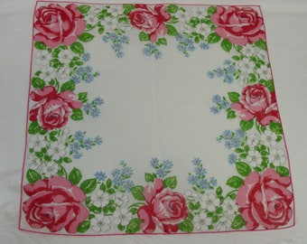 Vintage Hanky, Handkerchief Pretty Pink Roses, Blue Forget Me Not
