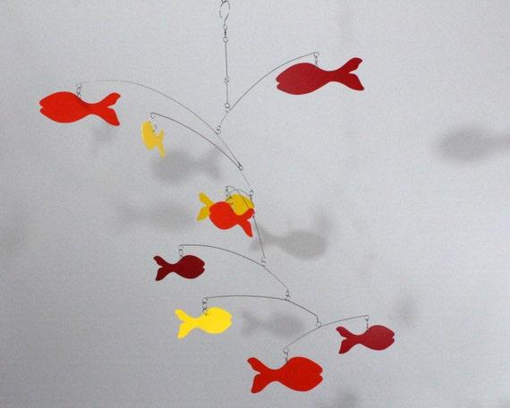 Kinetisches Mobile mobile fische fischschwarm skys45 kinetische kunst