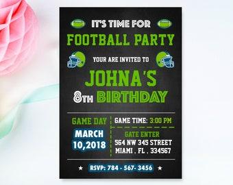 Football Birthday Invitation, Football invitations, football Birthday card, football birthday party, football party,Digital card