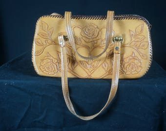 Vng 40s Tooled Leather Handbag / Vintage Leather Western Clutch Handbag / Vintage Mexican Hand Tooled Leather Purse / 40s Pin Up Purse
