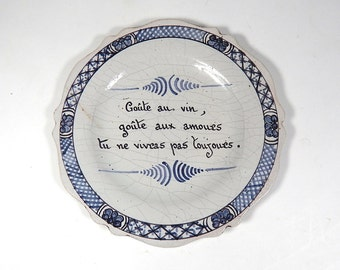 Antique French Country Plate with Maxim 1800s from Nevers