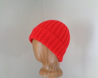 Bright Red Cap, Cashmere Knit Hat, Watch Cap, Beanie, Luxury Natural Fiber, Gift for Him Her, Men Women
