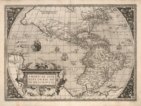 Alte Karte von Amerika 1570 Amerika Karte antike Nordamerika