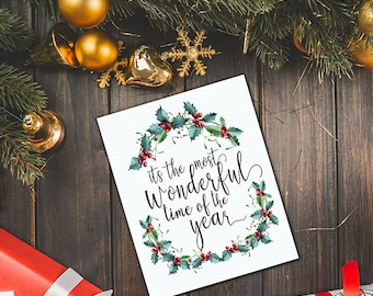Christmas printable card, it's the most wonderful time of the year - Instant download