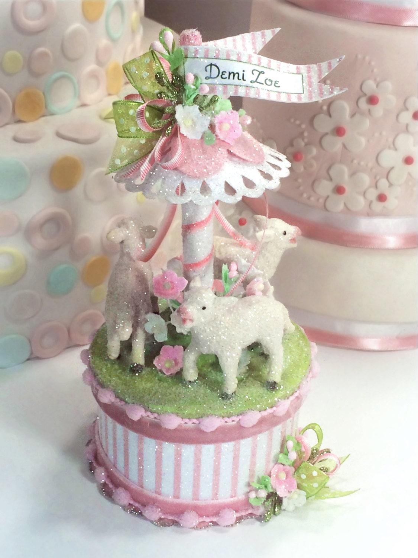 Baby Lamb Cake Topper Keepsake Box Baby Shower Topper