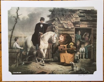 "8"" by 10"" print, ""Billy Bobs Big Break into Showbiz"" Altered Thrift Store Art"