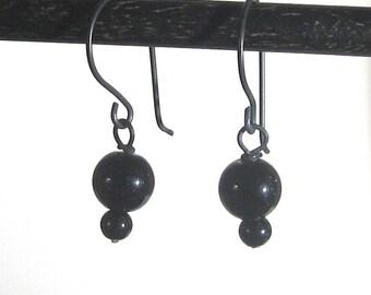 Black on black earrings Black niobium earrings with onyx beads Hypoallergenic black earrings