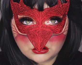 Red Bird Embroidered Lace mask