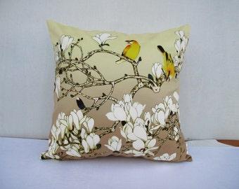 Flower Bird Pillowcase White Flower Pillow Birds Cushion Cover  Birds Sitting on The Branch
