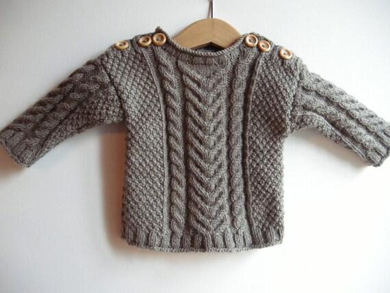 Handknit aran baby sweater - toddler aran sweater - celtic baby - fisherman's sweater - fisherman jumper - cable knit sweater - merino yarn