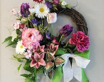 Spring Wreath – Summer Wreath – Door Wreath – Front Door Wreaths – Outside Door Wreath - Spring Door Wreath