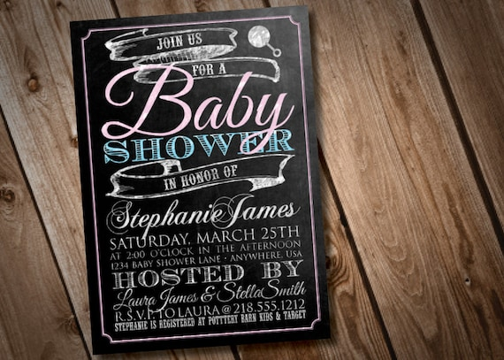 diy printable chalkboard baby shower invitation