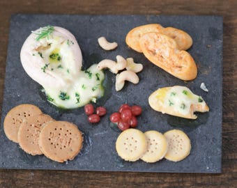 Doll house Miniature Baked Camembert Cheese Board in 1/12 scale