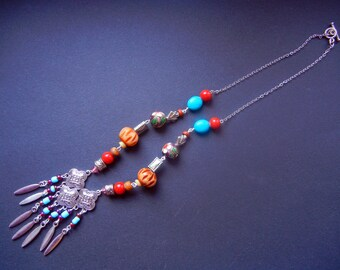 Nomad Necklace, Bohemian Necklace, Boho Necklace, Dangly pendant necklace, Eclectic Necklace