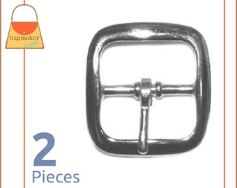 "1 Inch Square Strap Buckles, Nickel Finish, 2 Pieces, Lightweight, Handbag Purse Bag Making Hardware Supplies, 1"", BKS-AA011"