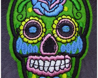 Embroidered patch fusible skull skull candy skull pinup 7.1 cm x 5.3 cm green x 1