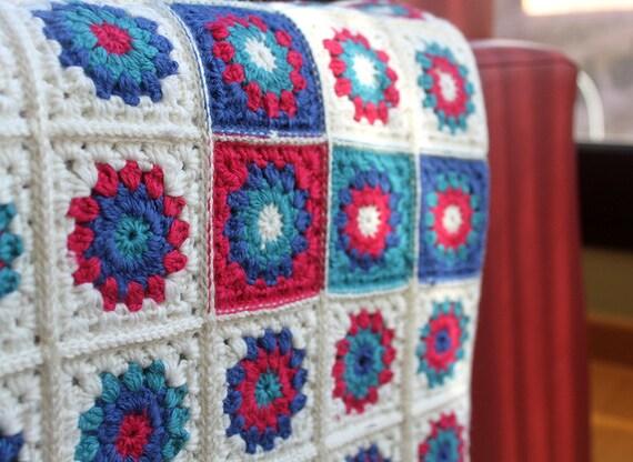 Manta crochet para beb s manta granny squares en colores - Mantas lana ganchillo ...