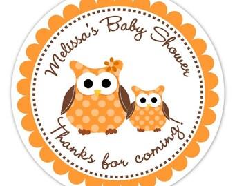 Chouette bébé douche autocollants, douche de bébé hibou personnalisé ou nouvelles étiquettes bébé, brun, Orange Owl autocollants - rond - 2,5 pouce personnalisé pour vous