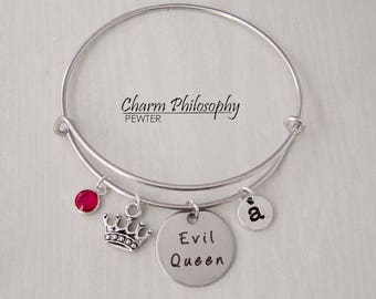 Evil Queen Crown Bracelet - Adjustable Bangle Bracelet - Fairy Tale Villain Jewelry - Personalized Initial and Birthstone