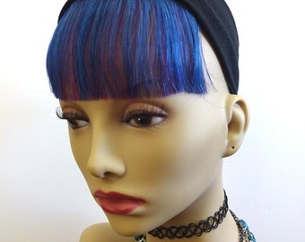 Blue and Purple Clip-In Bangs/Fringe - hair extensions two tone violet