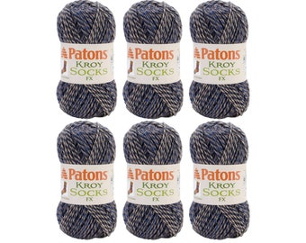 Bulk Buy CHAMBRAY COLORS 6 Pack. Patons Kroy FX Self Striping Sock yarn. Wool blend, super fine Washable wool sock yarn. Blue & Grey Color <
