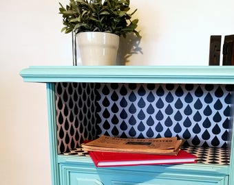 Blue bedside table, Raindrop Black and White wallpaper, wooden bedside table, vintage bedside table