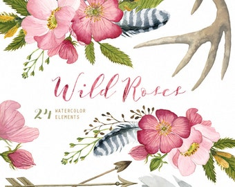 Wild Roses 24 Watercolor Elements, hand painted clipart, floral wedding invite, greeting card, diy clip art, flowers, free commercial use