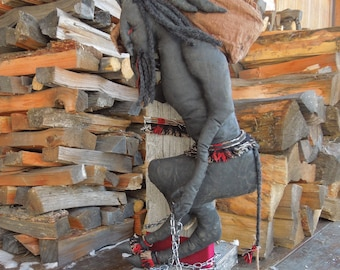 Krampus Soft Sculpture Art Doll with Vintage Barn Wood Stand