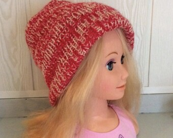 Reversible red and off-white Mohair Hat