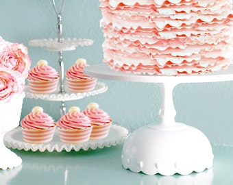 """Scallop Cake Stand / Wedding Cake Stand in 12"""" 14"""" 16"""" 18"""" 20"""" / White Cake Stand for Vintage White Weddings"""