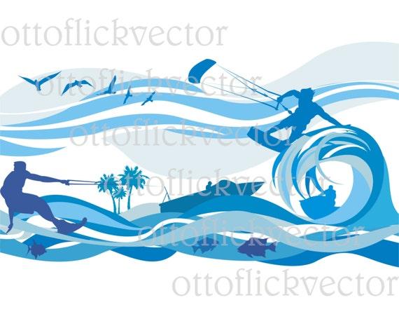 Water Sport Vector Clipart Digital Sport Background