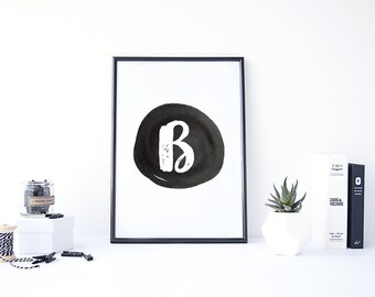 "B Monogram Printable - 8.5"" x 11"" Digital Art Print"