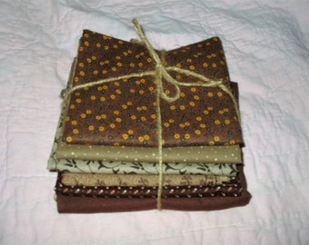Quilting Fabric Bundle Brown Tones Cotton Material for Quilting, Sewing, Crafting, Doll Clothes