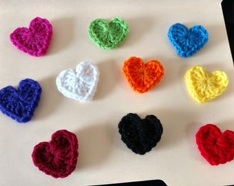 Crocheted Heart Magnets- set of 5