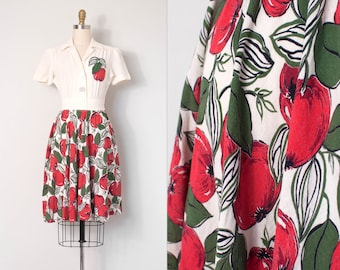 vintage 1930s dress | 30s novelty print dress (extra small xs)