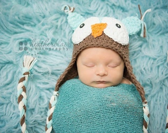 Baby boy hat, baby girl hat, crochet owl hat, owl, photo prop, baby shower gift, coming home outfit, mint chocolate, crochet newborn