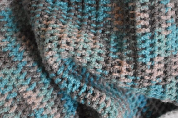 Baby Blue, Gray, & White Gradient Crochet Baby Blanket