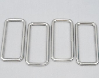 20 Silver 2 Inch (51mm) Zinc Alloy Rectangle Rings