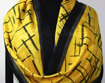 Silk Scarf Yellow Black Hand Painted Handmade Silk Shawl GOLDEN SERENITY, Silk Scarves Colorado. Select Your SIZE! Birthday, Christmas Gift