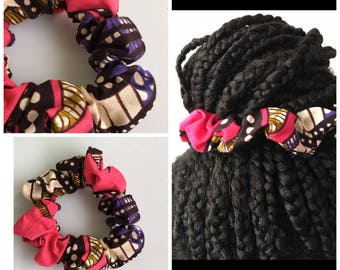 Brown WAX Fuchsia fabric scrunchie