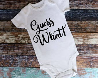 Guess What Pregnancy Announcement Onesie, Baby announcement Onesie, Custom Baby Onesie, Custom baby announcement, maternity photo onesie