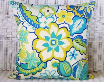 Outdoor Floral Pillow, Floral Pillow Cover, 18x18 Outdoor Pillow, Yellow Lime Teal Jade Turquoise Aqua Blue Ivory, Ready To Ship