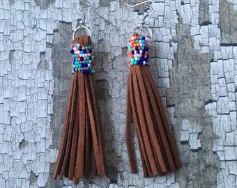 Leather tassel beaded dangle earrings